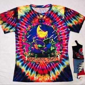 Grateful Dead Shooting Stars w Bears Tie Dye Shirt